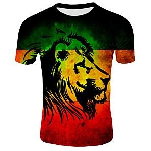 ieftine Imbracaminte & Accesorii Căței-Bărbați Rotund - Mărime Plus Size Tricou Bumbac De Bază - Bloc Culoare / Animal Imprimeu Negru / Manșon scurt