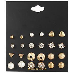 ieftine Cercei-Pentru femei Transparent Cristal Cercei Set Retro Inimă Minge femei Boem Modă Elegant Ștras cercei Bijuterii Auriu / Argintiu Pentru Zilnic Dată 12 perechi