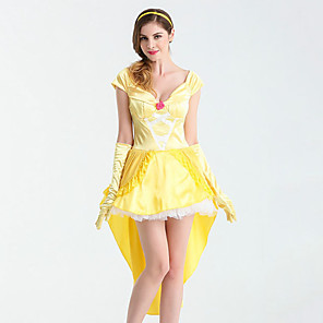 ieftine Costume Sexy-fată frumoasă Costume Cosplay Adulți Pentru femei Rochii Crăciun Halloween Carnaval Festival / Sărbătoare Satin / Tul Bumbac Galben Costume de Carnaval Prințesă