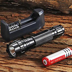 ieftine lanterne-UltraFire Lanterne LED 1300 lm LED LED 1 emițători 5 Mod Zbor Cu Baterie și Încărcător Focalizare Ajustabilă Mâner antialunecare Camping / Cățărare / Speologie Utilizare Zilnică Ciclism