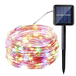 ieftine Fâșii Becurie LED-10m Fâșii de Iluminat 100 LED-uri SMD 0603 1 buc Alb Cald Alb Multicolor Rezistent la apă Solar Decorativ Λειτουργεί με Ηλιακή Ενέργεια / IP65