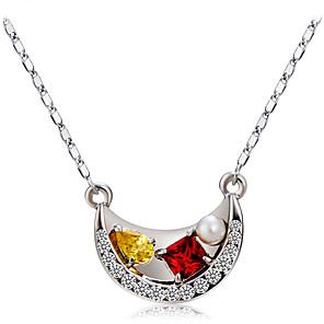 ieftine Colier la Modă-Pentru femei Multicolor Cristal Coliere cu Pandativ Figaro lanț Navă Romantic Modă Elegant Imitație de Perle Argilă Crom Argintiu 42.5 cm Coliere Bijuterii 1 buc Pentru Oficial Muncă