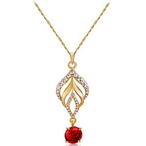 ieftine Colier la Modă-Pentru femei Roșu Cristal Coliere cu Pandativ Figaro lanț Romantic Modă Elegant Placat Auriu Crom Diamante Artificiale Auriu 42 cm Coliere Bijuterii 1 buc Pentru Serată Oficial