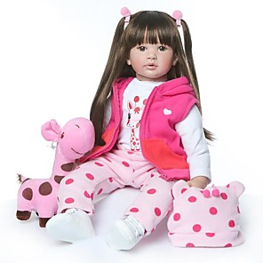 ieftine Peruci & Extensii de Păr-NPKCOLLECTION NPK DOLL Păpuși Renăscute Girl Doll Bebe Fetiță 24 inch natural Model nou Artificial Implantation Brown Eyes Lui Kid Fete Jucarii Cadou