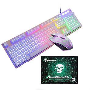 olcso Billentyűzetek-LITBest T6 USB vezetékes Egér billentyűzet Combo Hordozható Gaming billentyűzet Fénylő Gaming Mouse / Office Mouse / ergonómikus egér 1600 dpi Játszás