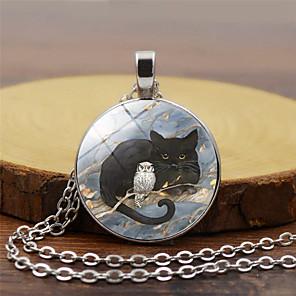 levne Náhrdelníky s přívěšky-Dámské Náhrdelníky s přívěšky Klasika Kočka Sova Vintage Sklo Chrome Zlatá Černá Stříbrná 45+5 cm Náhrdelníky Šperky 1ks Pro Dovolená Jdeme ven