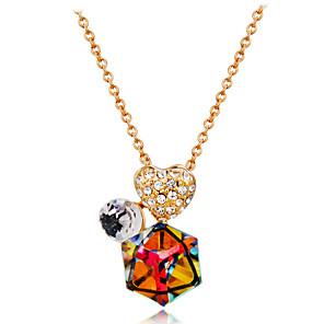 ieftine Colier la Modă-Pentru femei Multicolor Cristal Coliere cu Pandativ Singapur Inimă Clasic Modă Elegant Placat Auriu Crom Diamante Artificiale Auriu 43 cm Coliere Bijuterii 1 buc Pentru Zilnic Oficial