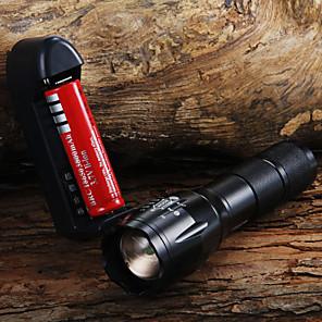 ieftine lanterne-Lanterne LED 1600 lm LED LED 1 emițători 3 Mod Zbor Cu Baterie și Încărcător Zoomable Focalizare Ajustabilă Camping / Cățărare / Speologie Utilizare Zilnică Ciclism / Aliaj de Aluminiu