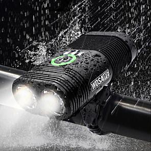 ieftine Lumini de Bicicletă-LED dublu Lumini de Bicicletă Iluminat Bicicletă Față Becul farurilor Lanternă Bicicletă Ciclism Rezistent la apă Reîncărcabil Moduri multiple Foarte luminos USB 2400 lm Reîncărcabil USD Alb Ciclism