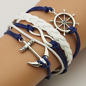 ieftine Ustensile & Gadget-uri de Copt-Pentru femei Unisex Bratari Wrap Bratari din piele Funie Răsucit Ancoră Simplu De Bază Piele  Bijuterii brățară Albastru Închis Pentru Casual Ieșire