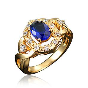 ieftine Inele-Pentru femei Inel Inel de logodna Zirconiu Cubic 1 buc Transparent Rosu Albastru 18K Placat cu Aur Diamante Artificiale Stilat Lux Romantic Petrecere Logodnă Bijuterii Clasic