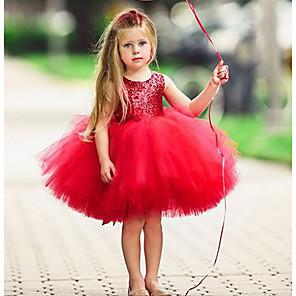 povoljno Dekoracija doma-Djeca Dijete koje je tek prohodalo Djevojčice Aktivan Osnovni Jednobojni Božić Bez rukávů Haljina Svjetloplav