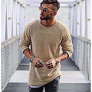 ieftine Bluze de Bărbați și Cardigane-Bărbați Mată Plover Manșon Lung Regular Pulover Cardigans Maro Deschis Alb Negru