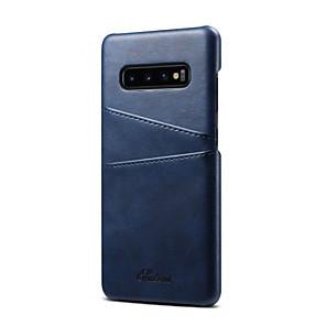 povoljno Samsung oprema-fierre shann slučaj za samsung galaxy galaxy s10 / galaksija s10 plus držač kartice stražnji poklopac čvrsta boja tvrdi prave kože za galaxy s10 / galaxy s10 plus / galaksija s10