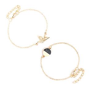 ieftine Brățări-Pentru femei Brățări cu Lanț & Legături Clasic Design Unic Aliaj Bijuterii brățară Auriu / Argintiu Pentru Concediu Gril pe Kamado  aleasă a inimii