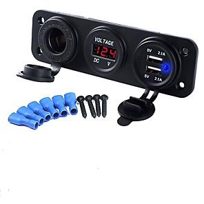 povoljno Punjači za auto-dc12v 3.1a auto punjač tri rupe ploča s dual usb port cigareta upaljač napon mjerač napajanja adapteri utičnica