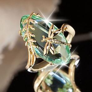 ราคาถูก แหวน-สำหรับผู้หญิง คำชี้แจง Ring Amethyst 1pc สีม่วง สีเขียว ทองแดง ไม่ปกติ ดีไซน์เฉพาะตัว เกี่ยวกับยุโรป ปาร์ตี้ เดท เครื่องประดับ คลาสสิค รูปไข่ แมลงปอ อารมณ์ น่ารัก