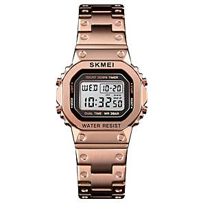 ieftine ceasuri digitale pentru femei-SKMEI Pentru femei Ceas Sport Ceas de Mână Piața de ceas Piloane de Menținut Carnea Oțel inoxidabil Negru / Argint / Auriu 30 m Alarmă Calendar Cronograf Piloane de Menținut Carnea Casual Modă -