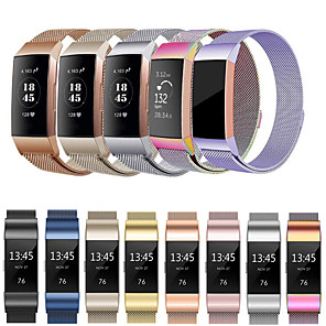 Недорогие Ремешки для спортивных часов-Ремешок для часов для Fitbit Charge 3 Fitbit Спортивный ремешок / Миланский ремешок Нержавеющая сталь Повязка на запястье