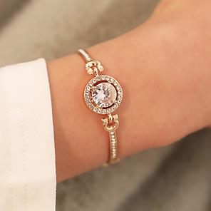 ieftine Colier la Modă-Pentru femei Diamant sintetic Brățări cu Lanț & Legături Brățări Bangle Clasic Floare Lux Corean Cute Stil Diamante Artificiale Bijuterii brățară Roz auriu / Auriu / Argintiu Pentru Petrecere Zilnic