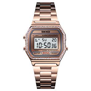 ieftine Ceasuri Damă-SKMEI Pentru femei Ceas Elegant Ceas de Mână Diamond Watch Piloane de Menținut Carnea Oțel inoxidabil Negru / Argint / Auriu 30 m Alarmă Calendar Cronograf Piloane de Menținut Carnea Lux Modă - Negru
