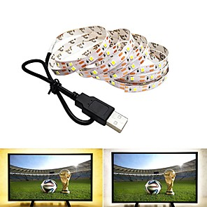ieftine Benzi Lumină LED-0.5m Fâșii De Becuri LEd Flexibile 300 LED-uri SMD2835 1 buc Alb Cald / Alb Rece USB / Petrecere / Decorativ Alimentat USB