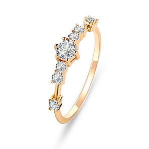 ieftine Inele-Pentru femei Inel Tail Ring Zirconiu Cubic 1 buc Auriu Argintiu Diamante Artificiale Aliaj Circular Cute Stil Petrecere Logodnă Bijuterii Clasic Floare Draguț