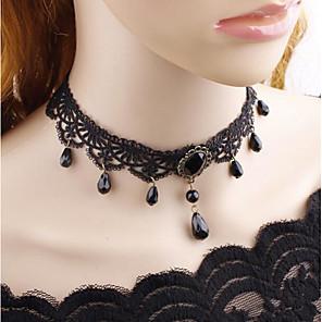 levne Náhrdelníky s přívěšky-Dámské Obojkové náhrdelníky Klasika Levný Vintage Gothic Látka Chrome Černá 38 cm Náhrdelníky Šperky 1ks Pro Večerní oslava Street