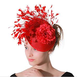 ieftine Bijuterii de Păr-Pentru femei femei Tiare Fascinators Pentru Nuntă Party / Seara Bal Supradimensionat Prinţesă Pană Material Textil Roșu-aprins