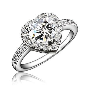 ieftine Inele-Pentru femei Inel Zirconiu Cubic 1 buc Auriu Argintiu 18K Placat cu Aur Diamante Artificiale Rotund Stilat Lux Romantic Petrecere Logodnă Bijuterii Clasic Inimă Heart Încântător