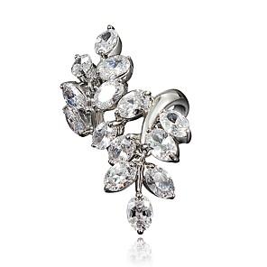 ieftine Inele-Pentru femei Inel Zirconiu Cubic 1 buc Auriu Argintiu 18K Placat cu Aur Diamante Artificiale Stilat Lux Romantic Petrecere Logodnă Bijuterii Clasic Leaf Shape Încântător