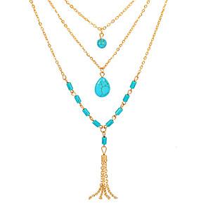 billige Lagvise halskjeder-Dame lagdelte Hals Dusk Dråpe Europeisk Mote Harpiks Chrome Blå 55 cm Halskjeder Smykker 1pc Til Daglig