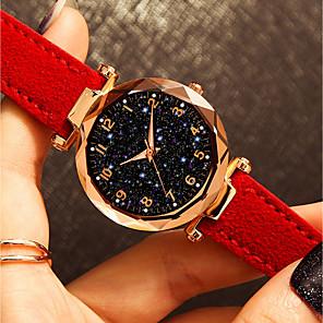 ieftine Inel Ceas-Pentru femei Ceas de Mână Quartz Modă Rezistent la Apă Analog Negru Mov Rosu / Piele