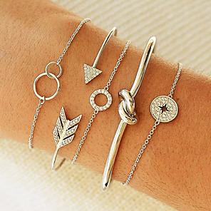 ieftine Brățări-5pcs Pentru femei Brățări cu Lanț & Legături Brățări Bantă Multistratificat Înnodat Monedă Cercul Twist Nod La modă Corean Diamante Artificiale Bijuterii brățară Auriu / Argintiu Pentru Petrecere