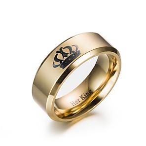 ieftine Inele-Bărbați Inel Inel de Logodnă 1 buc Negru Auriu inox Circular Logodnă Cadou Bijuterii Coroane Ieftin Încântător