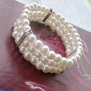 ieftine Brățări-Pentru femei Brățări cu Mărgele Bratari Wrap Χάντρες Dulce Elegant Imitație de Perle Bijuterii brățară Alb Pentru Nuntă Petrecere