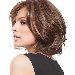 ieftine Peruci & Extensii de Păr-Peruci Sintetice Loose Curl Frizură Pixie Perucă Scurt Dark Brown / Întuneric Auburn Păr Sintetic 8 inch Pentru femei Dame Maro Închis