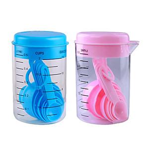 ieftine Măsurători & Cântare de Bucătărie-7 buc set albastru roz plastic de măsurare ceașcă bucătărie de măsurare seturi de linguri de unelte