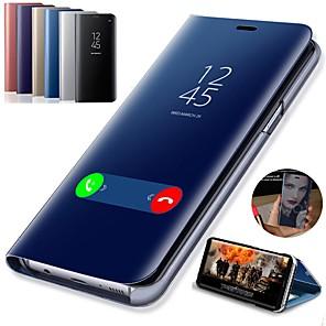 Недорогие Чехлы и кейсы для Galaxy S6 Edge-Кейс для Назначение SSamsung Galaxy S9 / S9 Plus / S8 Plus со стендом / Покрытие / Зеркальная поверхность Чехол Однотонный Твердый Кожа PU