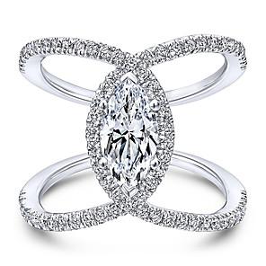 Dame Statement Ring Kubisk Zirkonium 1pc Rose Gull Hvit Kobber Gullbelagt C-form Unikt design Bryllup Gave Smykker Klassisk HALO Alfabet Formet Søtt
