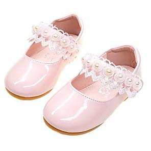 ieftine HDMI-Fete Confortabili / Pantofi Fata cu Flori PU Pantofi Flați Toddler (9m-4YS) Dantelă de Cusut Alb / Roz Deschis Primăvară / Toamnă / Party & Seară / Cauciuc