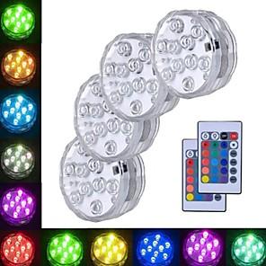 お買い得  LED ソーラーライト-4本 3 W 水中ライト 防水 / リモコン / 装飾用 RGB 5.5 V スイミングプール / 花瓶や水族館に適しています 10 LEDビーズ
