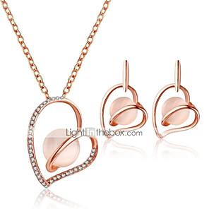 ieftine Seturi de Bijuterii-Pentru femei Cercei Picătură Coliere cu Pandativ #D Inimă Hollow Heart Stilat Design Unic Ștras cercei Bijuterii Roz Pentru Zilnic Serată 1set