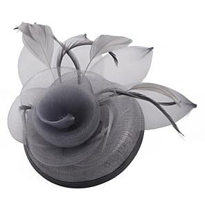 levne Ozdoby do vlasů-Dámské dámy Diadémy Fascinators Pro Svatební Večírek Maturitní ples Princezna Peří Látka Bílá Světle šedá Černá