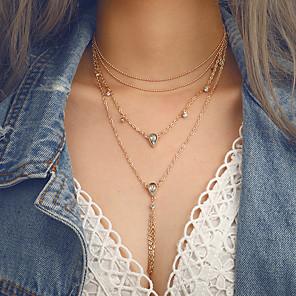 ieftine Colier la Modă-Pentru femei Coliere Layered Franjuri Picătură Vintage European Modă Crom Diamante Artificiale Auriu 55 cm Coliere Bijuterii 1 buc Pentru Dată Ieșire