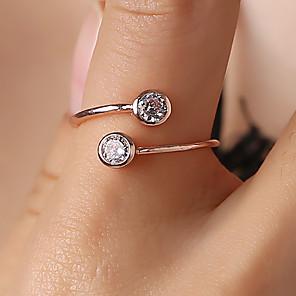 olcso Gyűrűk-Női Gyűrű Tail Ring Kocka cirkónia 1db Világosbarna Arany Ezüst Réz Strassz Circle Shape Személyre szabott Egyszerű Egyedi Ajándék Napi Ékszerek Üreg Zvijezda Bájos Heart