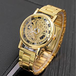 ieftine Ceasuri Damă-Bărbați Ceas Elegant Quartz Argint / Auriu 30 m Rezistent la Apă Analog Schelet - Auriu Argintiu Doi ani Durată de Viaţă Baterie