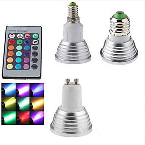 ieftine Spoturi LED-1 buc 3 W Spoturi LED 300 lm E14 GU10 E26 / E27 1 LED-uri de margele SMD Intensitate Luminoasă Reglabilă Telecomandă Decorativ RGB 85-265 V
