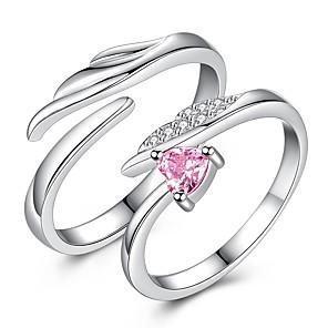 ieftine Inele Cuplu-Pentru cupluri Inele Cuplu degetul mare 2pcs Argintiu Romantic Elegant Cadou Dată Bijuterii Inimă Relaţie Heart