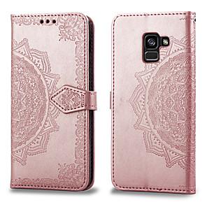 hesapli Galaxy A Serisi Kılıfları / Kapaklar-Pouzdro Uyumluluk Samsung Galaxy A8 2018 Kart Tutucu / Flip Tam Kaplama Kılıf Solid Sert PU Deri